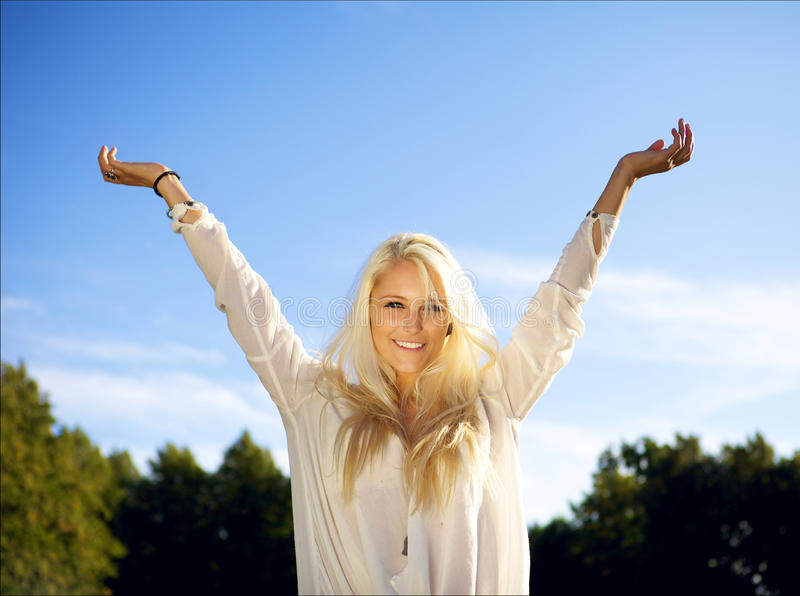 Download Female With Arms Raised Above Her Head Stock Image - Image: 21533291