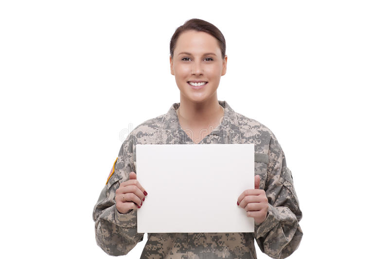 Female army soldier with a placard royalty free stock images