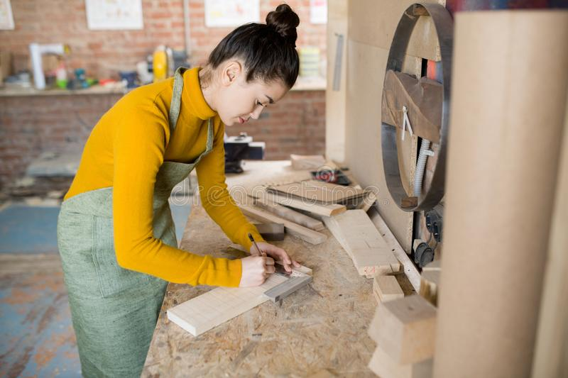 Female Artisan Working with Wood stock images