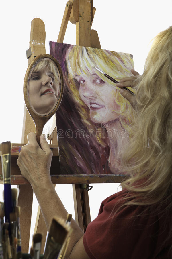 Download Female Artist In Her Fifties Painting Stock Image - Image of image, pretty: 15936957
