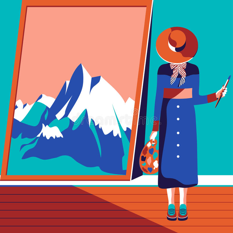Female artist painting mountains royalty free stock photo