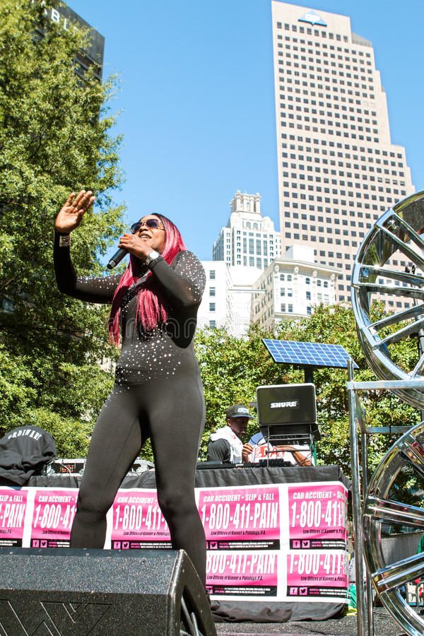 Female Artist Performs At Free Atlanta Hip Hop Day. Atlanta, GA, USA - October 8, 2016: Female hip hop artist Knocka DonDiva performs on the stage at Atlanta Hip royalty free stock photography