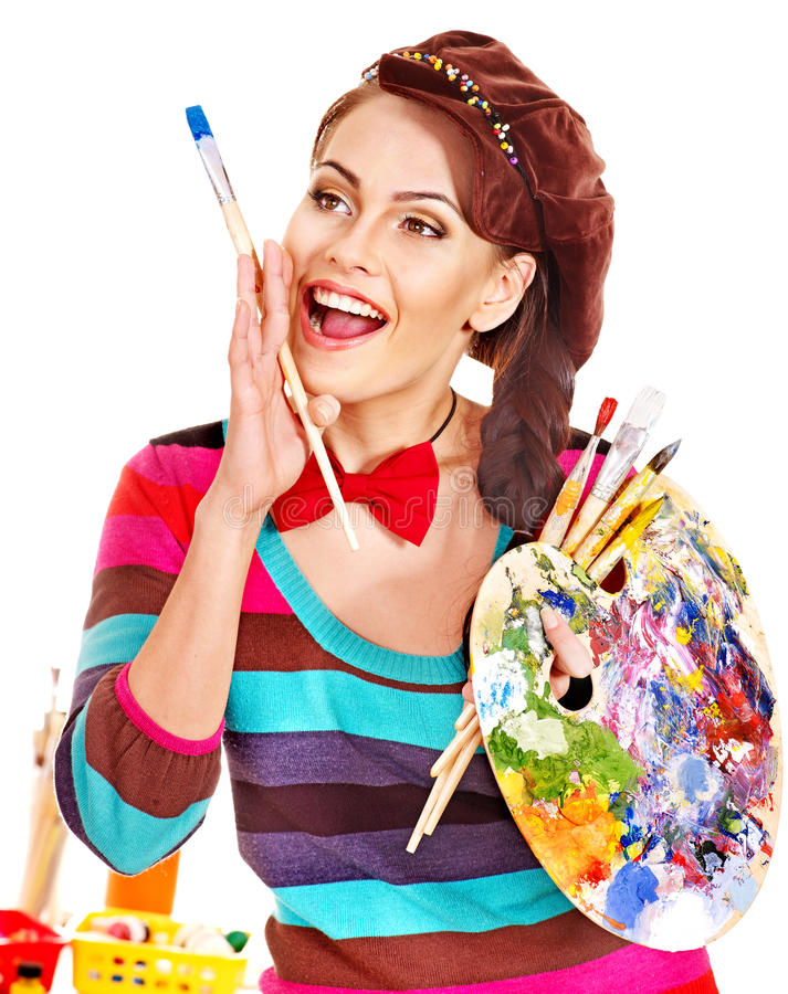 Download Female artist at work. stock image. Image of drawing - 28880603