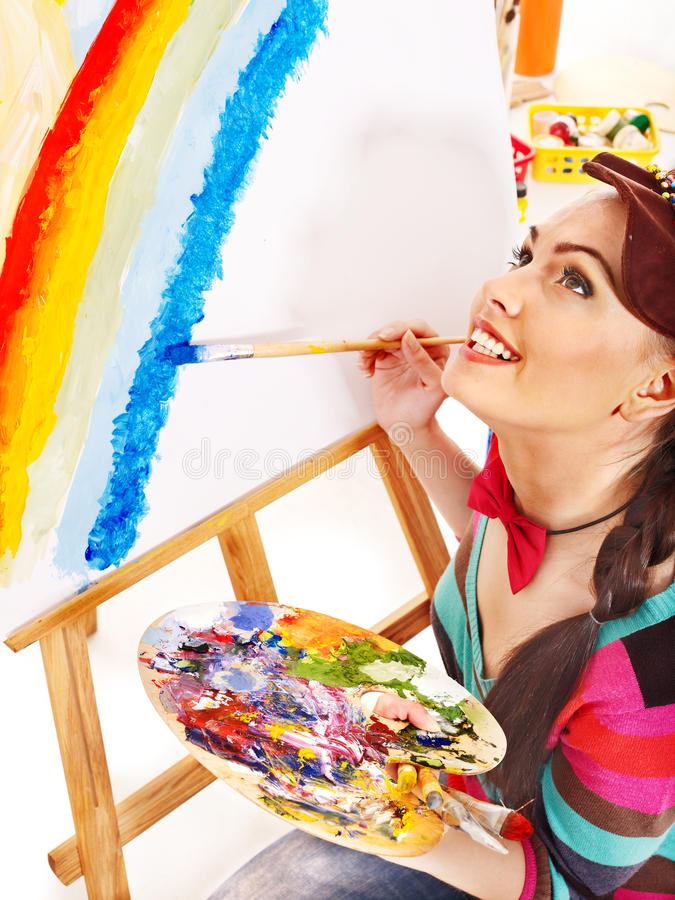 Download Female artist at work. stock image. Image of artistic - 28880641