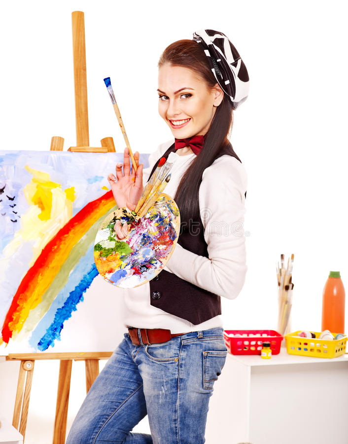 Female artist at work. stock images