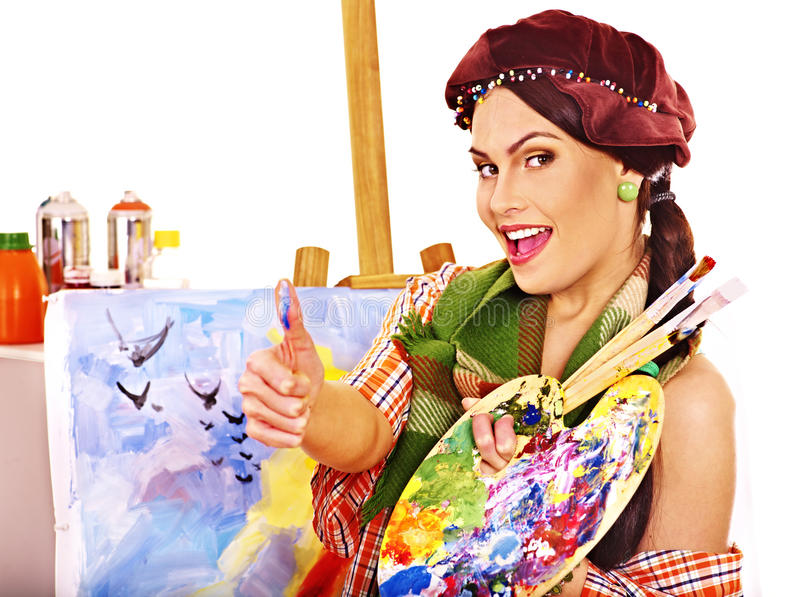 Female Artist At Work. Royalty Free Stock Photo