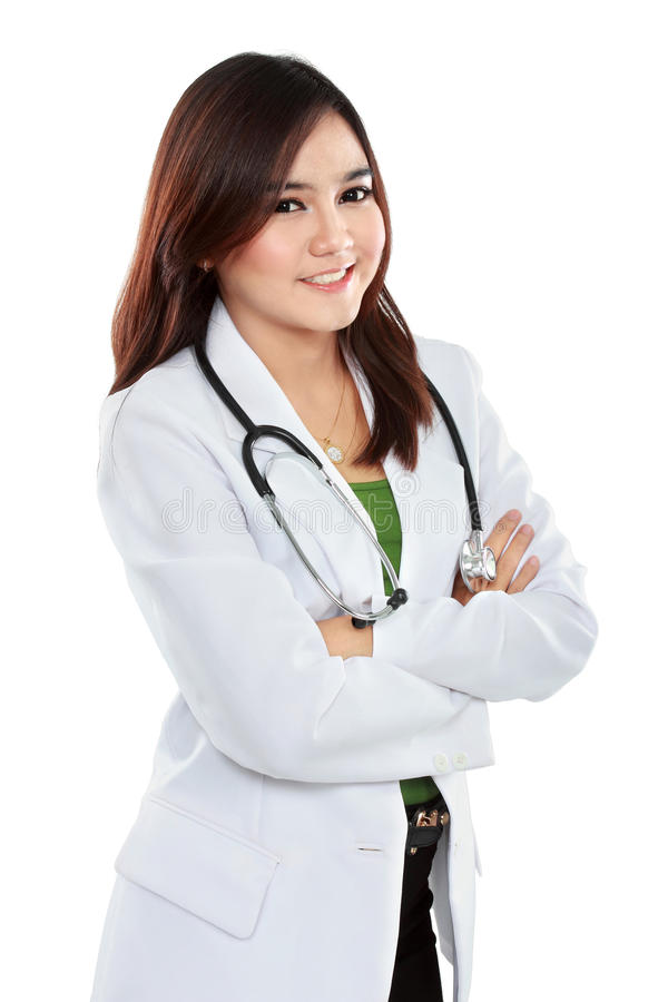 Female asian doctor wearing a white coat and stethoscope with ar stock photos