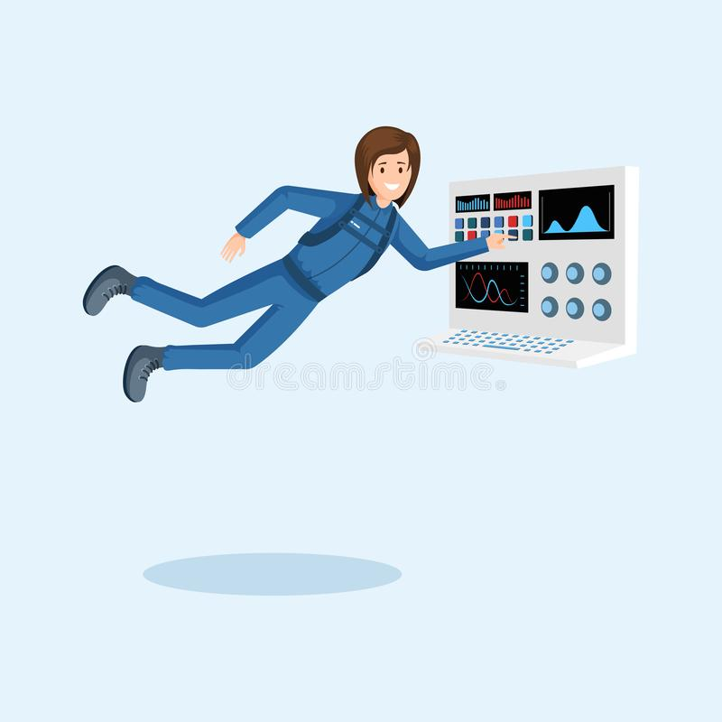 Female astronaut training flat illustration. Cosmonaut floating in zero gravity, pressing button on spaceship control. Panel cartoon vector character. Space royalty free illustration