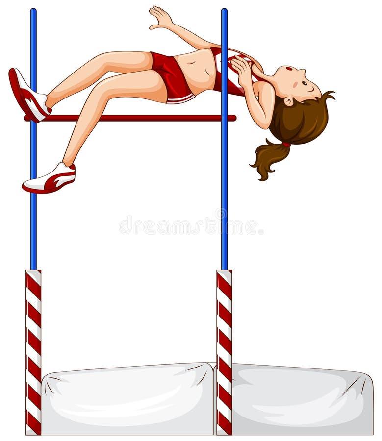 Female athlete doing high jump vector illustration