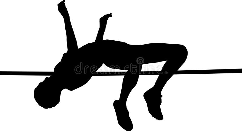 Female athlete high jump stock illustration