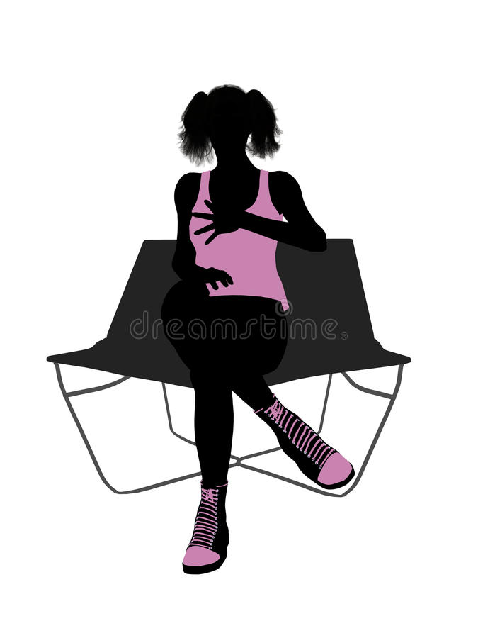 Download Female Athlete On A Lounge Chair Silhouette Stock Illustration - Image: 14982466