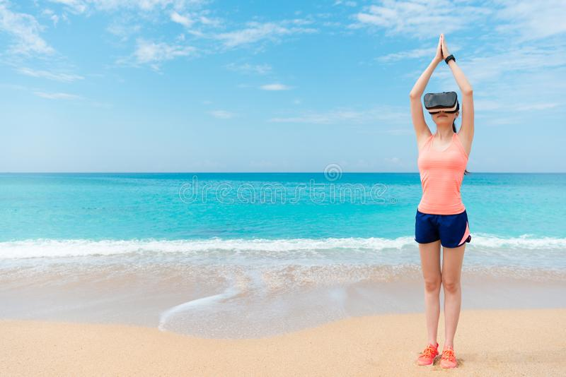 Female athlete making swimmer preparing posture stock photo