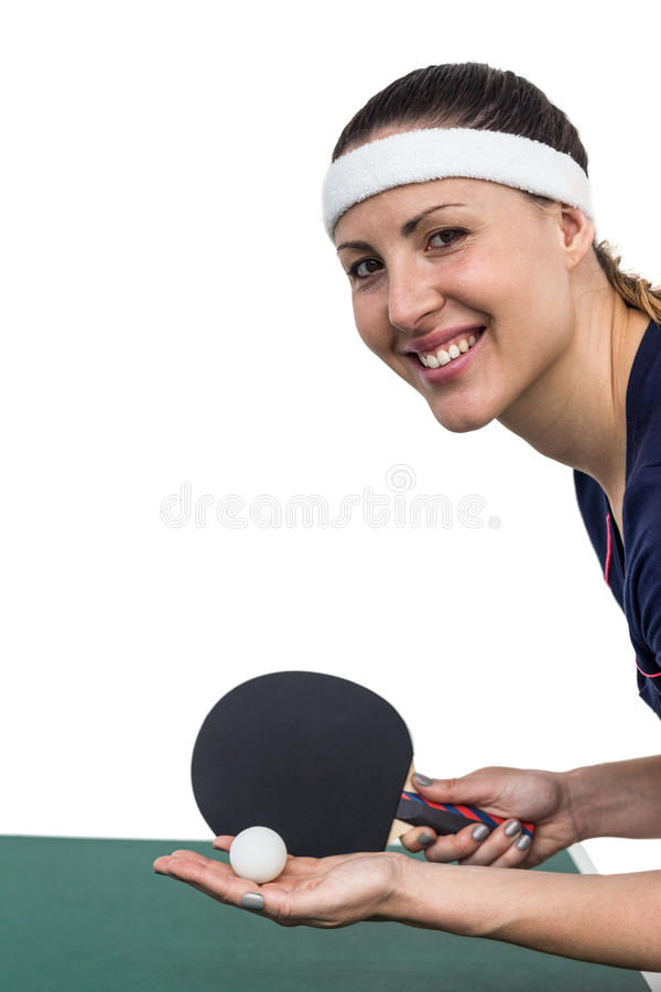 Female athlete playing table tennis royalty free stock photography