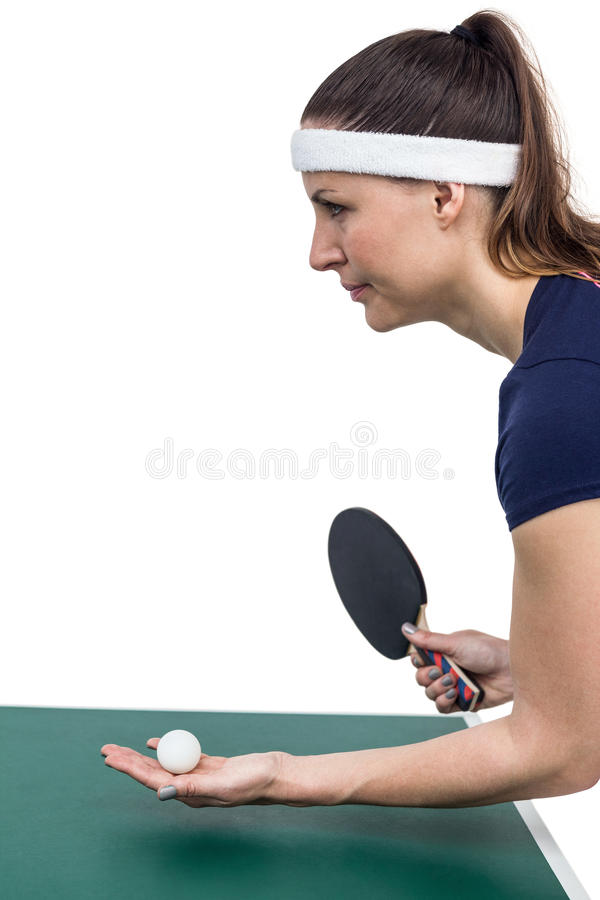 Female athlete playing table tennis stock photography