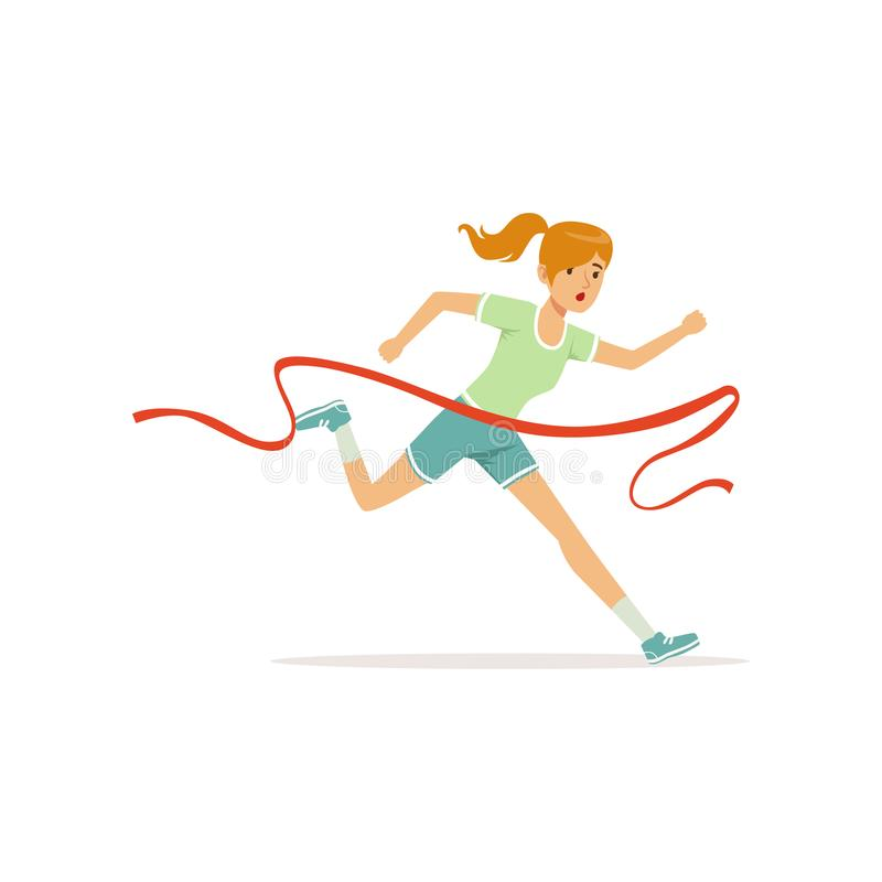 Female athlete taking part in running marathon. Woman character cross finish line. Girl runner in shorts and t-shirt royalty free illustration