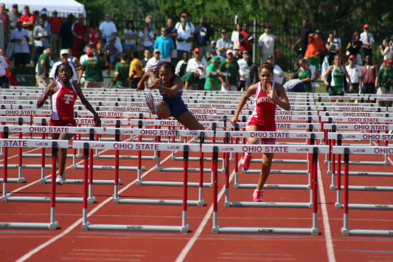 Female athletes. Image of female sprinters taken at the 2006 Ohio High School State Championship meet stock photo