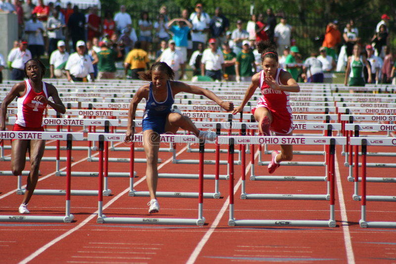 Female athletes. Image of female sprinters taken at the 2006 Ohio High School State Championship meet stock photography