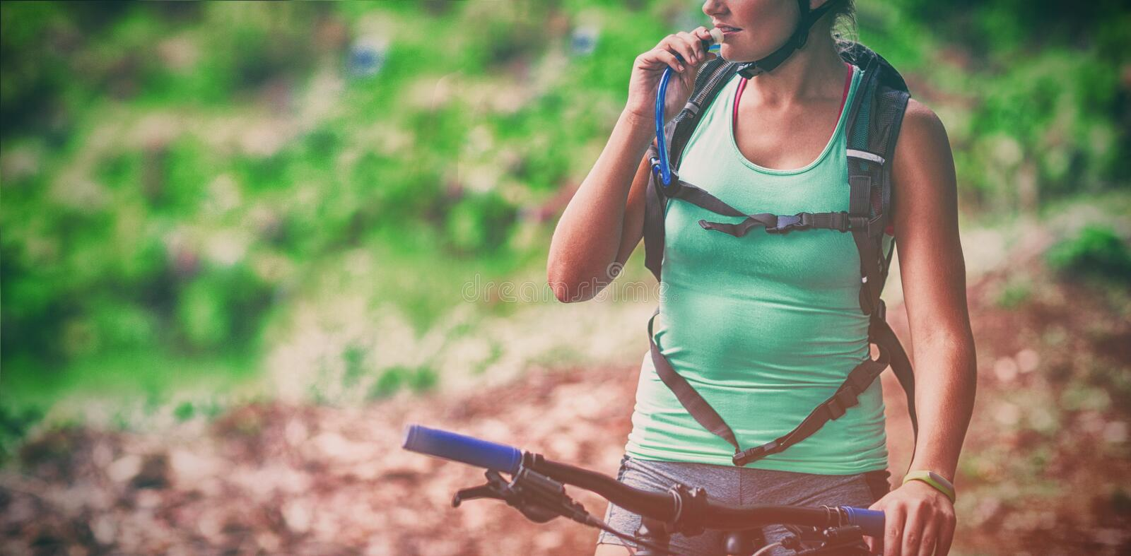Female athletic drinking water from hydration pack. In forest stock photo