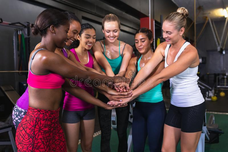 Female athletic team forming hand stack in fitness center. Front view of diverse female athletic team forming hand stack in fitness center. Bright modern gym stock photography
