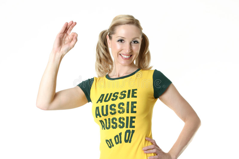 Female Aussie Fan stock photo
