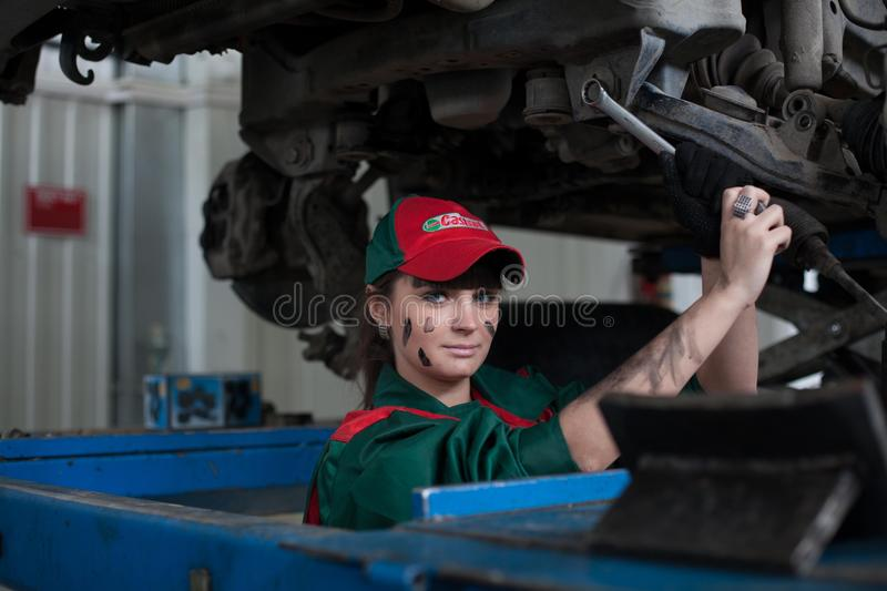 Female automotive mechanic stock images