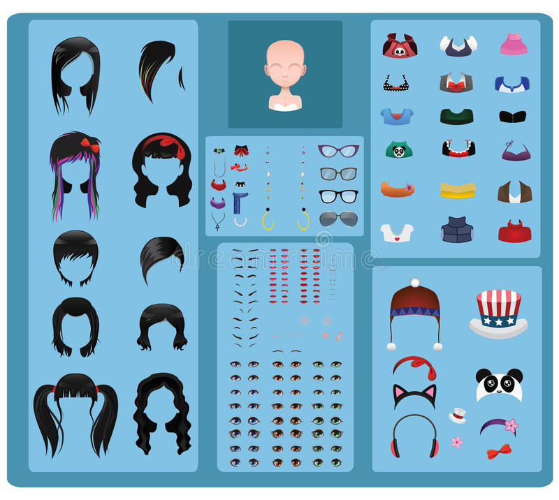 Female avatar maker - black hair. Edition vector illustration