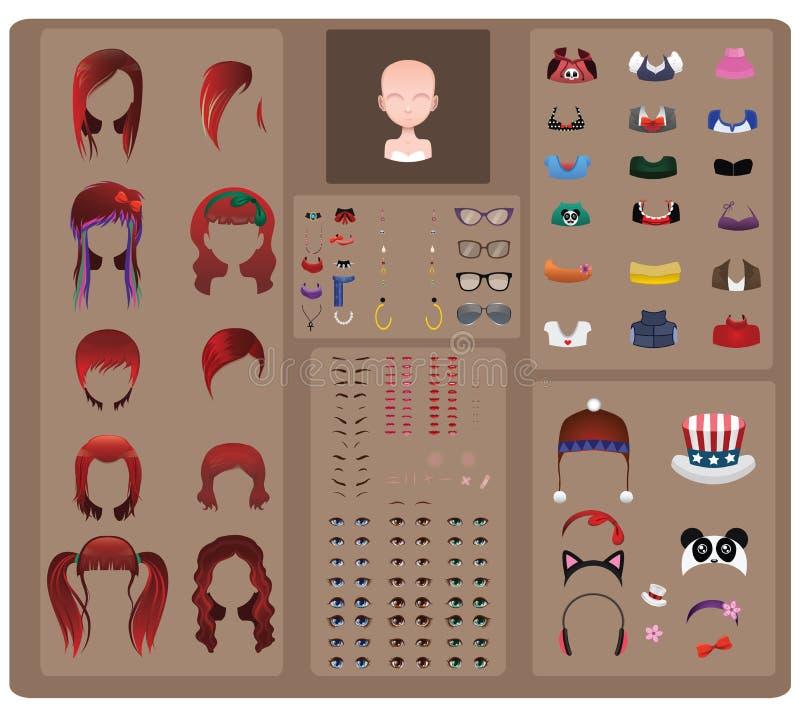 Female avatar maker - red hair royalty free illustration