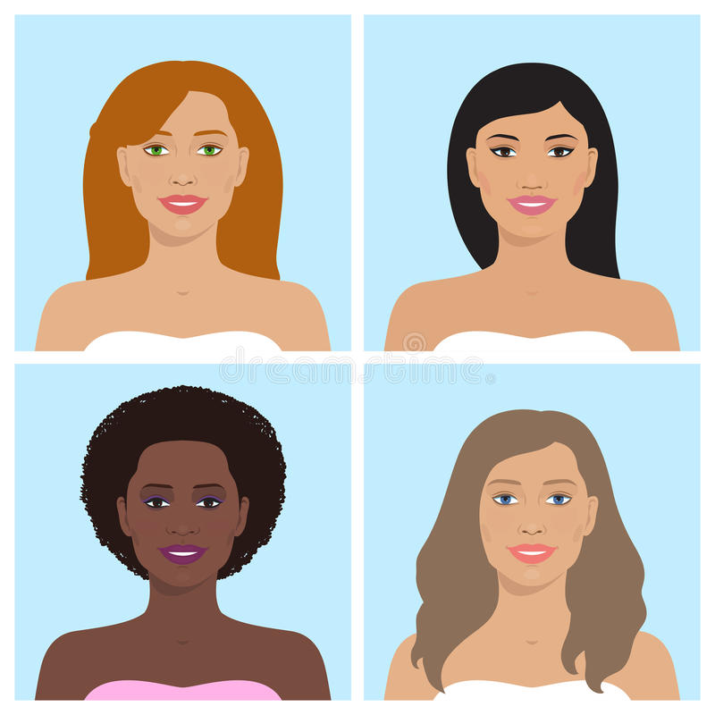 Female avatar set. Vector avatar icon set. International portraits. Set of womens avatars. Women of different nation. Women, girls with various hairstyle stock illustration
