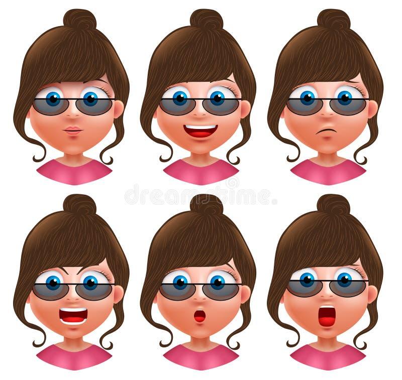Female avatar vector character. Set of teenager girl heads stock illustration
