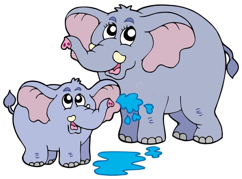 Female and baby elephants. Illustration royalty free illustration