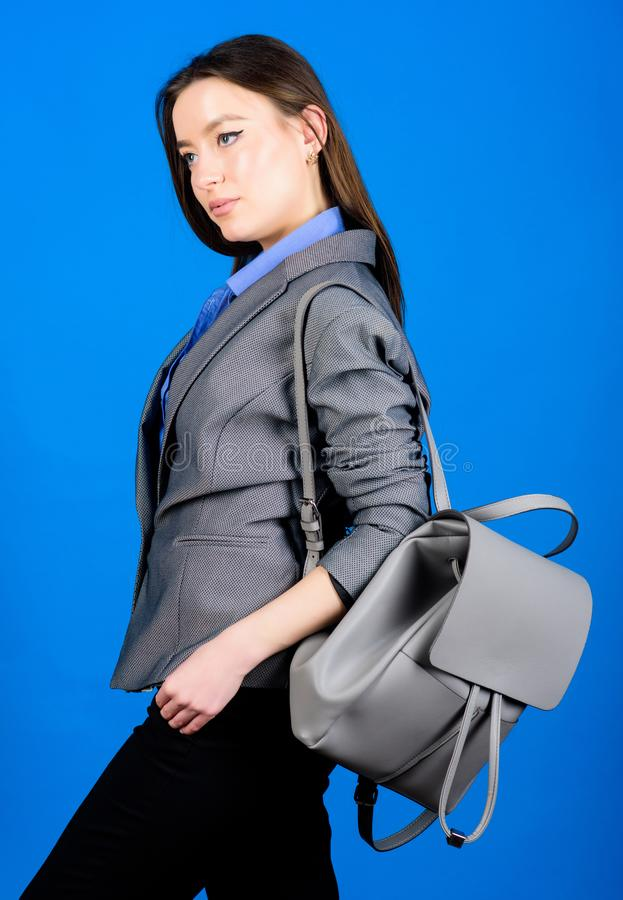 Female bag fashion. business. Shool girl with knapsack. girl student in formal clothes. student life. Smart beauty. Nerd. Stylish woman in jacket with leather royalty free stock photography