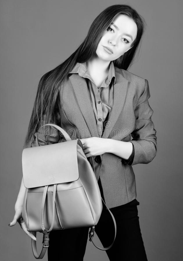 Female bag fashion. stylish woman in jacket with leather backpack. business. Shool girl with knapsack. girl student in. Formal clothes. student life. Smart royalty free stock photos