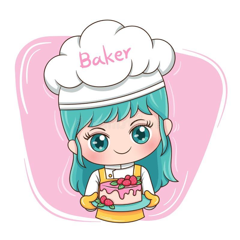Female Baker_2. Illustration of cartoon character female baker royalty free illustration
