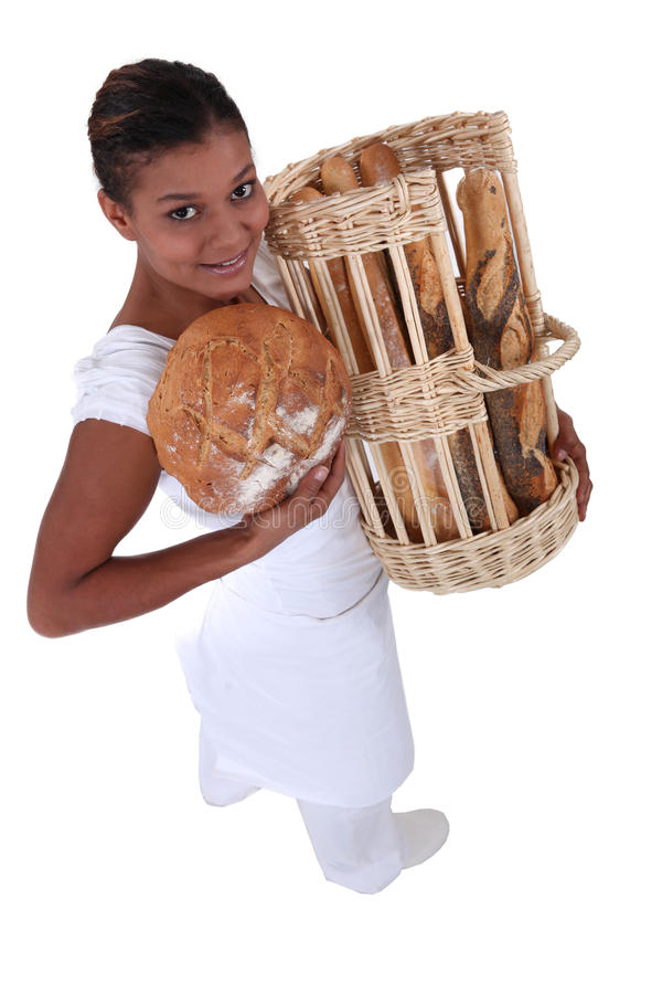 Download Female bakery worker stock photo. Image of flour, bakery - 26501998