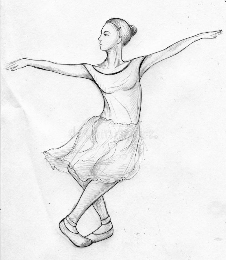 Hand drawn pencil sketch of a female ballet dancer