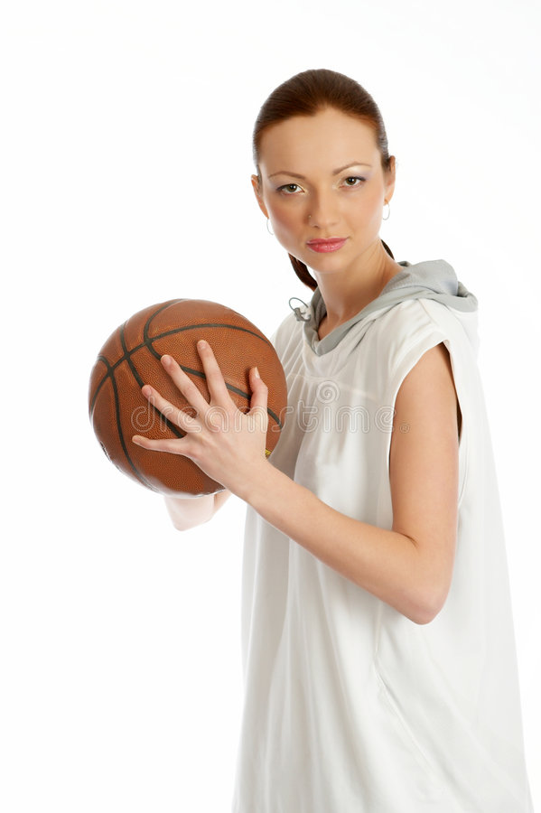 Female basket ball player. Young beautiful female basket ball player stock photos