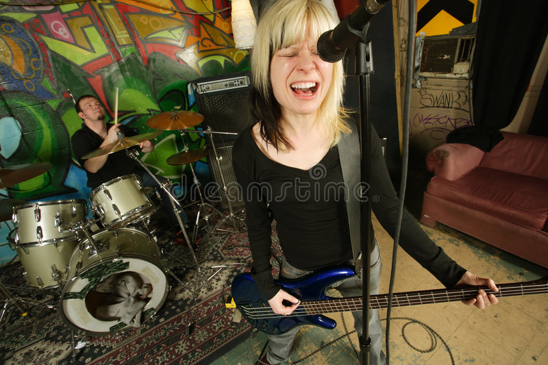 Download Female Bass Player Screaming Stock Image - Image: 4909929