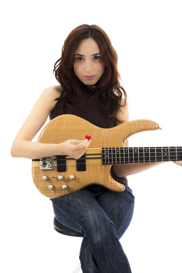 Female bass player stock photos