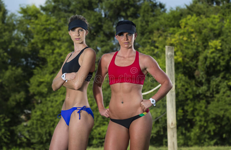 Female Beach Volleyball Players stock photo