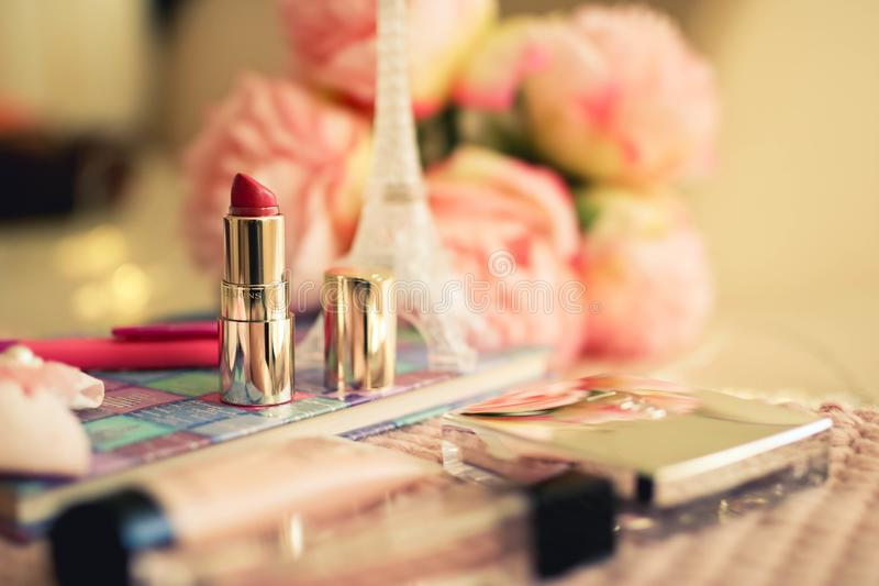 Female beautiful composition with lipstick stock image