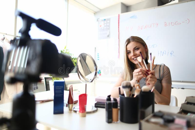 Female Beauty Blogger Streaming Makeup Live Video stock images