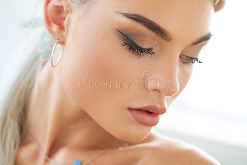 Female beauty in close-up royalty free stock photography
