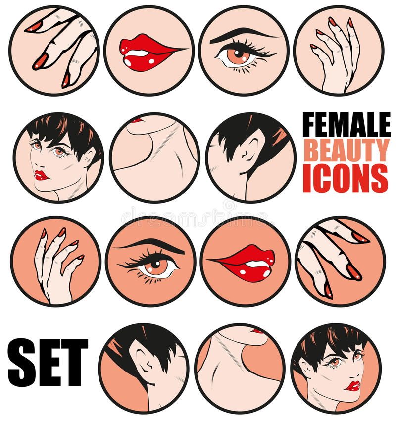 Female Beauty Icons Set Vector Retro Classic Comics Pin Up Style. For web sites or presentations templates vector illustration