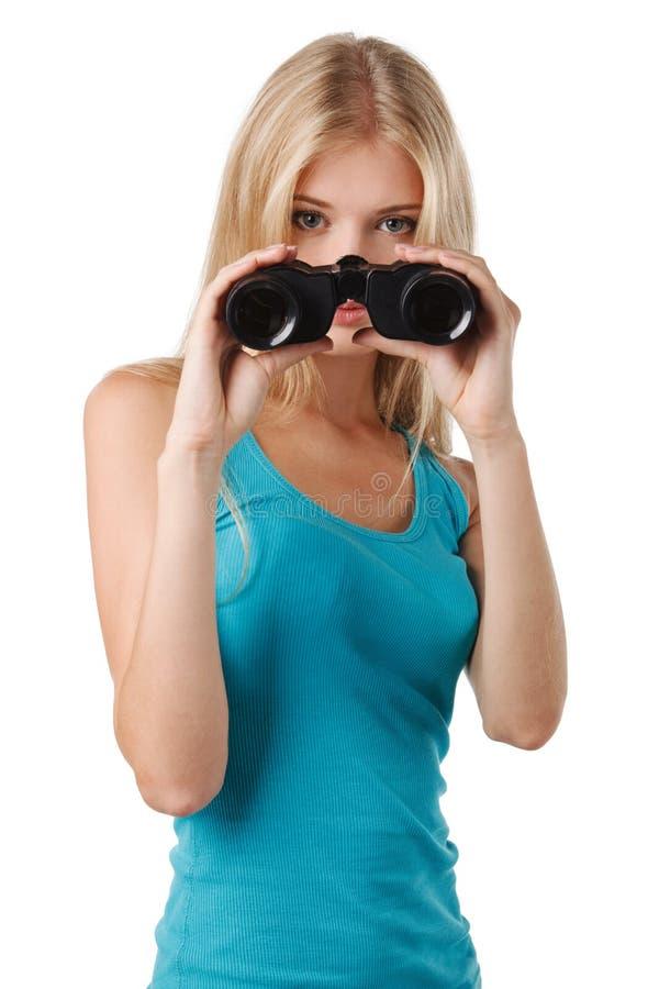 Female with binoculars stock photos