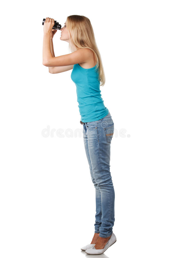 Female with binoculars royalty free stock images