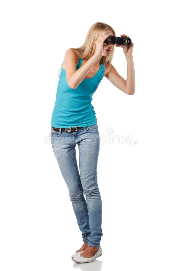 Female with binoculars stock photo