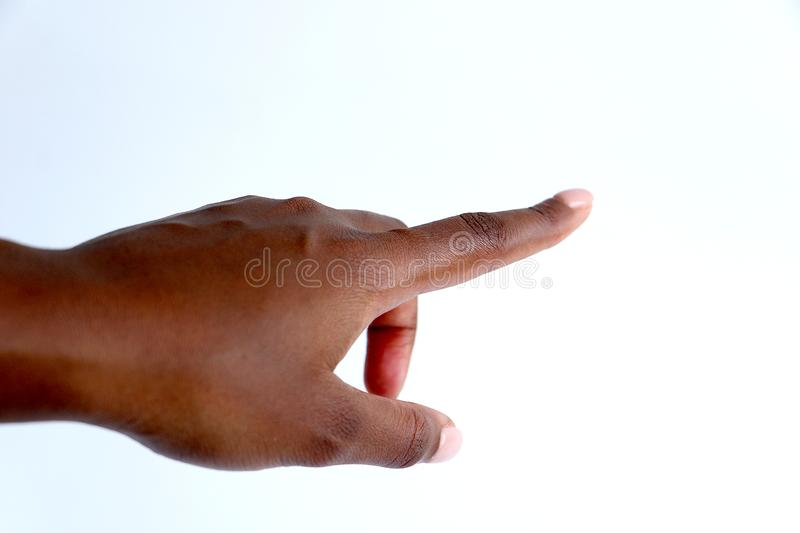 Female, black African indian hand pointing stock image
