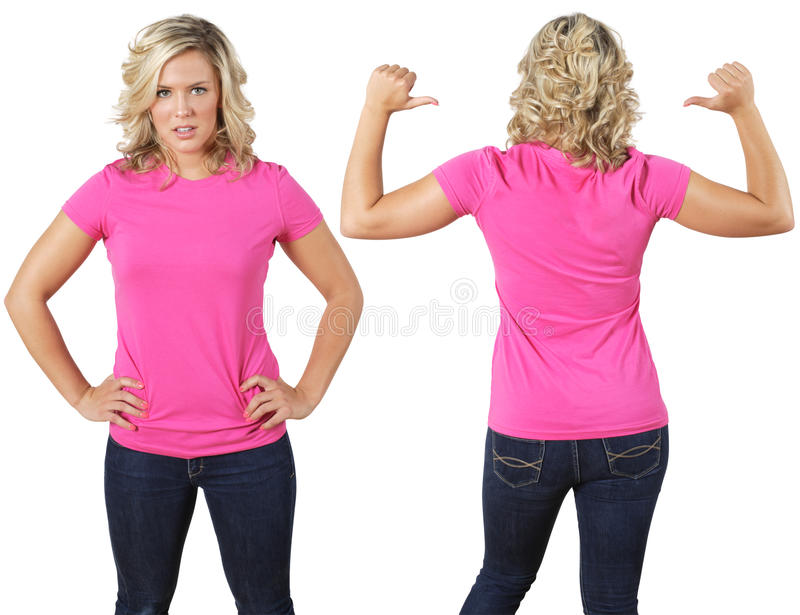 Female with blank pink shirt royalty free stock photo