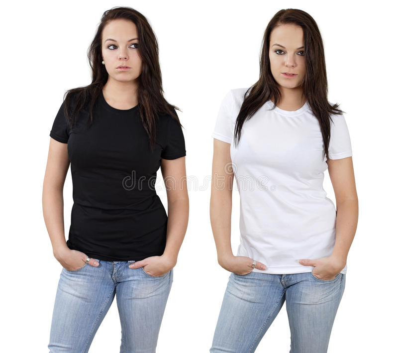 Female and blank white and black shirts. Young beautiful brunette female with blank white shirt and black shirt. Ready for your design or logo stock image