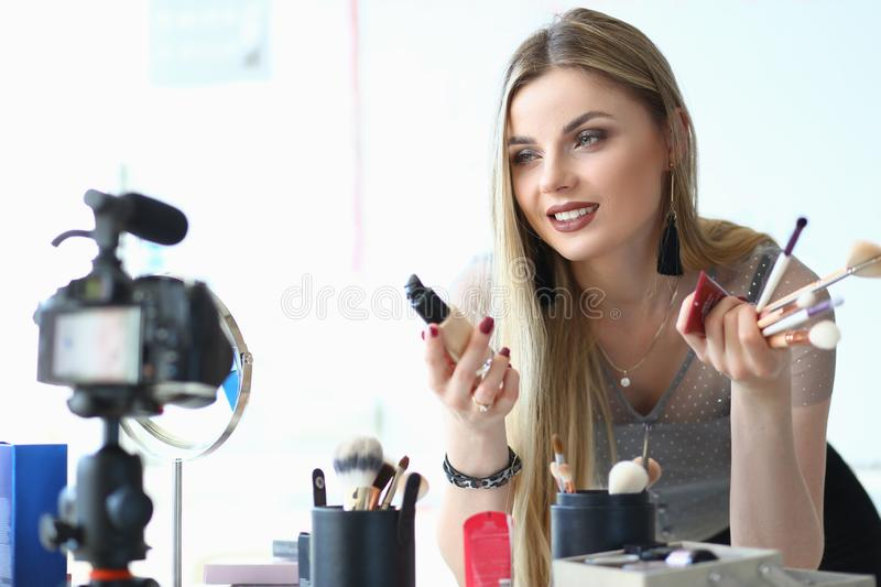 Female Blogger Recording Video for Beauty Blog stock images